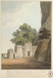 View of the third gateway of the Fort, Gooty. Sepoys in the foreground